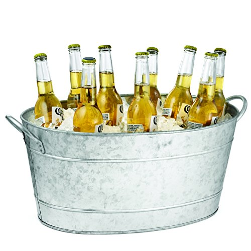 Tablecraft Galvanized Oval Beverage Tub, 5.5 Gallons (Personalized Bucket Wine Chiller)
