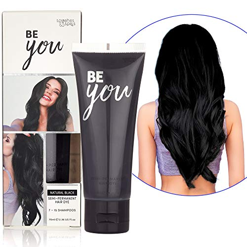 Semi-Permanent Black Hair Dye - Vibrant 2.36 Oz. Tubes Temporary Hair Color - Ammonia and Peroxide Free -Vegan and 100% Cruelty-Free Toner - Lasts for 7-15 Shampoos - by Splashes and Spills