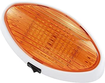 Gold Stars F3528006 Cool White RV LED Oval Porch Light Fixture w//Clear Amber Lens 110 or 170 LUM