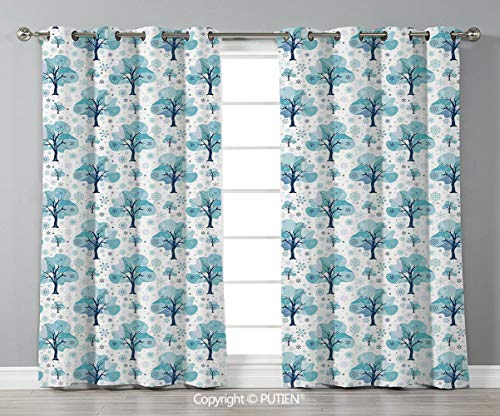 Grommet Blackout Window Curtains Drapes [ Winter,Tree Silhouettes with Various Snowflake Figures Gentle Seasonal Mix Christmas Theme,Blue White ] for Living Room Bedroom Dorm Room Classroom Kitchen Ca