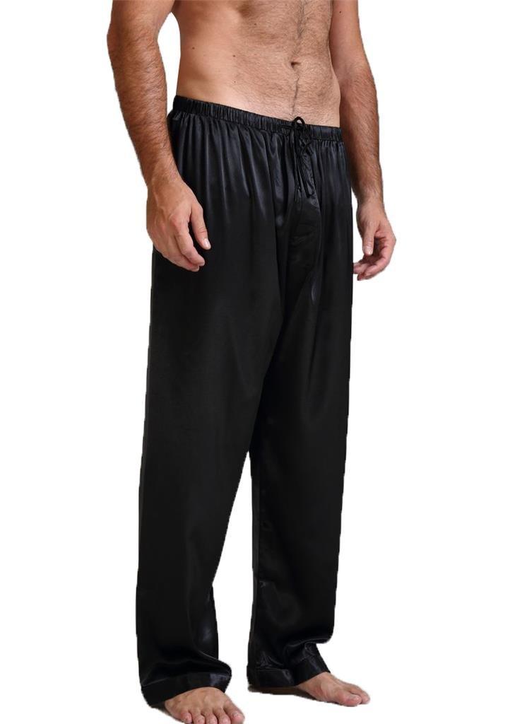 Mens Silk Satin Pajamas Pyjamas Pants Sleep Bottoms Black L
