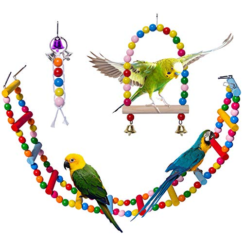 - Petsvv Bird Parrot Toys, Natural Wooden Bird Toys Cage Ladder for Trainning with A Bird Swing and A Bird Bell, Pet Bird Ladder Toys for Cockatiel Conure Parakeet