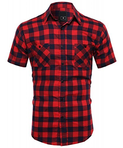 Short Sleeve Plaid Woven Shirt (OLLIE ARNES Men's Short Sleeve Classic Oxford And Printed Woven Button Up Shirt PLAID_RED L)