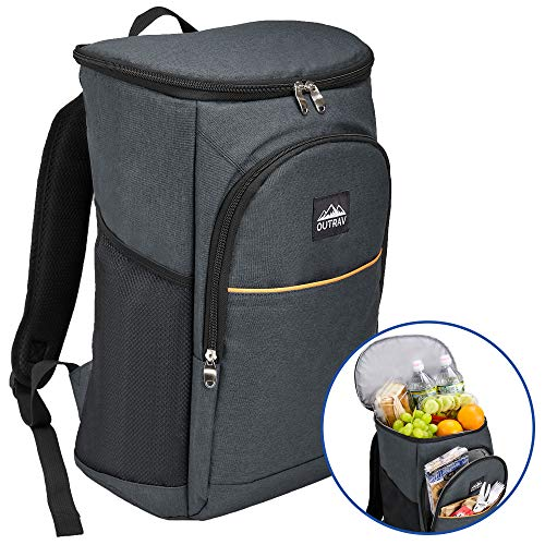 Outrav Black Camping Backpack Cooler - Fully Insulated Cooling Bag with 3 Zippered Compartments and 2 Mesh Pockets - 28 Can Capacity