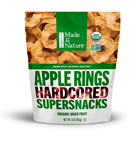 (Made In Nature - Organic Apple Rings Dried Fruit, 3 Ounce (Pack of 6) - Non-GMO Vegan Dried Fruit Snack)