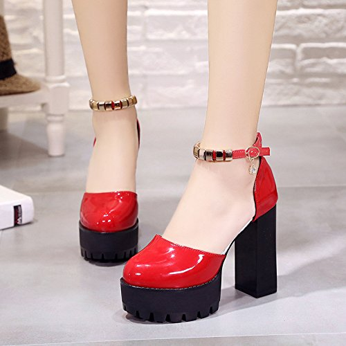 Gules Thirty-eight AGECC High Heel imperméableing Water Drill with One Word Buckle Sandals
