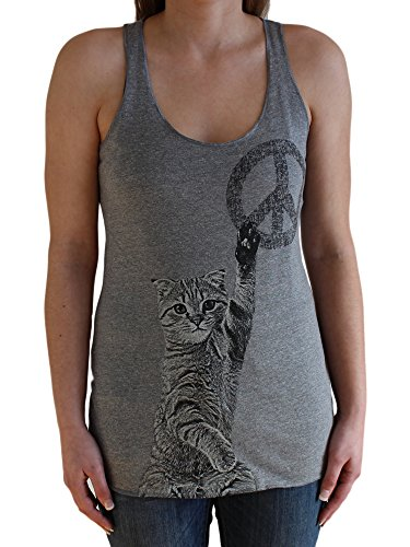 Peace Sign Womens Tank Top (Paw Addict Women's Peace Cat Tank Top (X-Large))