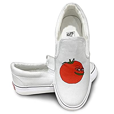 PTCY Feels Bad Man Frog Tomato Logo Comfort Unisex Flat Canvas Shoes Sneaker White