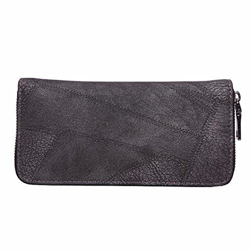 Women Wallet, Han Shi Fashion Lady Women Zipper Coin Purse Long Leather Wallet Card Holders Handbag Flexible Wallet Large Travel Working Purse Pocket (Gray)