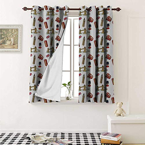 shenglv London Waterproof Window Curtain Big Ben Tower Bridge Royal Guard Telephone Double Decker and UK Flag Curtains for Party Decoration W84 x L72 Inch Violet Blue Red Sand Brown