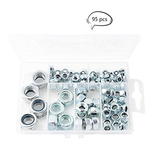Teenitor 95-Piece Zinc Plated Nylon Lock Nut Assortment Kit, Size Include: M4 M5 M6 M8 M10 M12 (Lock Nuts) - Locknut Assortment Kit