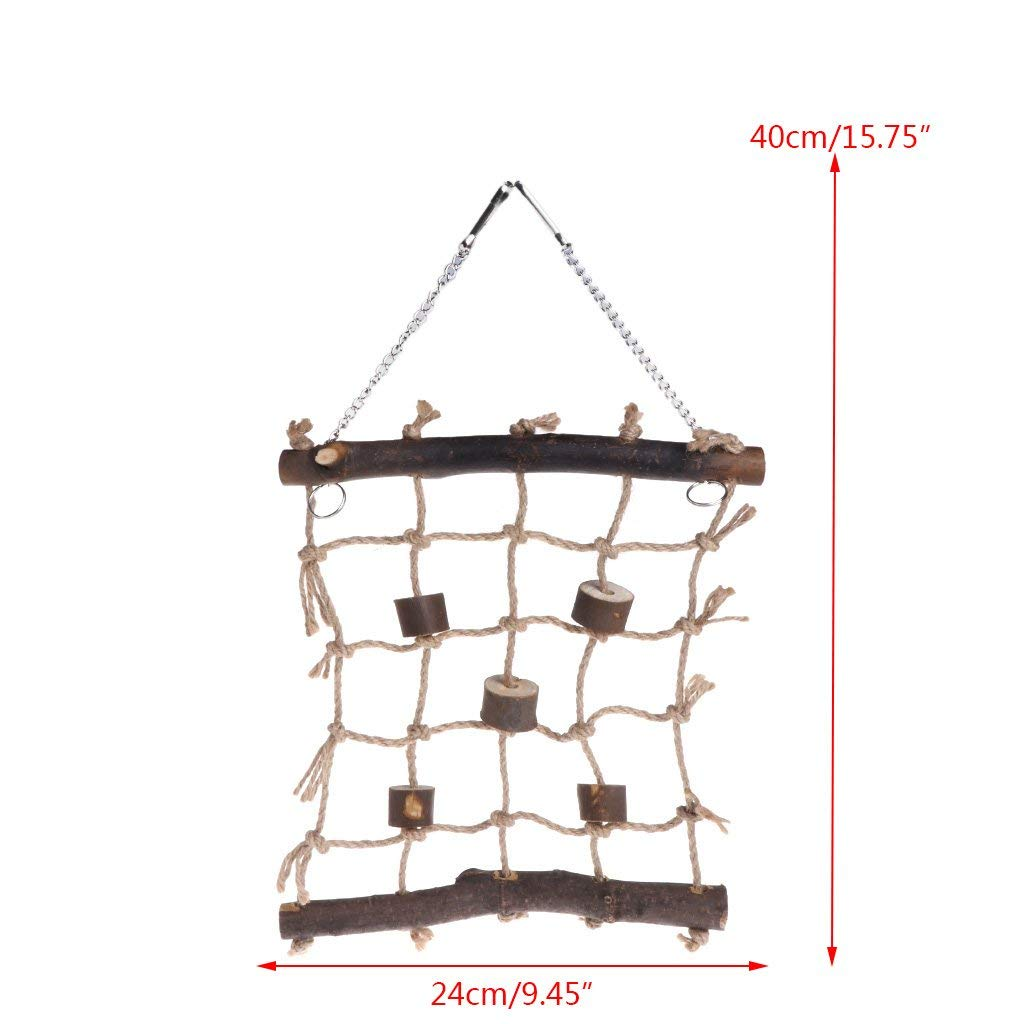 Hanging Hemp Bird Swing Ladder Parrot Climbing Net Cage Play Gym Toy Premium Quality by Yevison