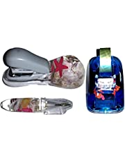 FATHER'S DAY GIFT - NOVELTY 3 PIECE OFFICE OR SCHOOL DESK ACCESSORIES SET - STAPLER, PEN, AND TAPE DISPENSER SEASHORE SCENE SHELLS FLOATING IN WATER LIQUID FILLED - GREAT FOR KIDS, OFFICE, DAD OR A STOCKING STUFFER - MAKES A GREAT GIFT GIFTS {jg} Great for mom, dad, sister, brother, grandparents, aunt, uncle, cousin, grandchildren, grandma, grandpa, wife, husband, relatives and friend.
