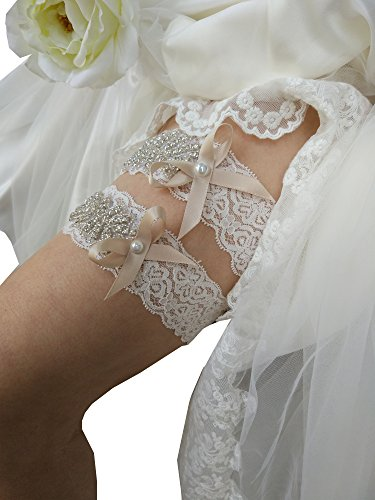 Rhinestones lace bridal garter set with bow decor wedding garters P20 (Champagne)