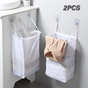 Wall Hanging Laundry Basket No Punching Bathroom Sticky Washing Laundry Bag Storage Basket, for Laundry Rooms, Bedroom, Bathrooms