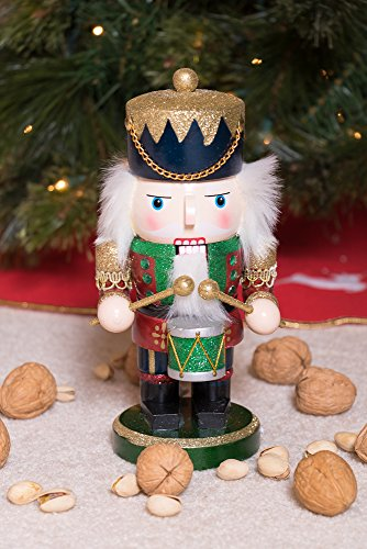 Red and Green Chubby Drummer Nutcracker by Clever Creations | Traditional Christmas Christmas Decor | 9'' Tall Perfect for Shelves and Tables | Must Have for Any Collection | 100% Wood by Clever Creations (Image #5)