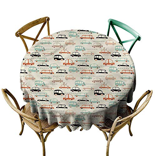 LsWOW 70 Inch Checkered Round Tablecloth Cars Cat on Old City Highway Suitable for Home Coffee Bar Party Wedding & More -
