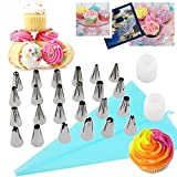 48 Piece Cake Decorating Supplies Set | Turntable Stand | 2 Spatulas | 24 Cone Tips | 11 Pastry Bags | 2 Couplers | Decorating Pen | 3 Scrapers | Flower Lifter | Flower Pin | Cleaning Brush | Gift Box