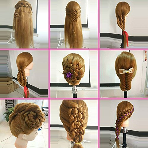 Mannequin Head, Beauty Star 20 Inch Long Gold Hair Cosmetology Mannequin Manikin Training Head Model Hairdressing Styling Practice Training Doll Heads with Clamp and Accessories by Beautystar (Image #4)