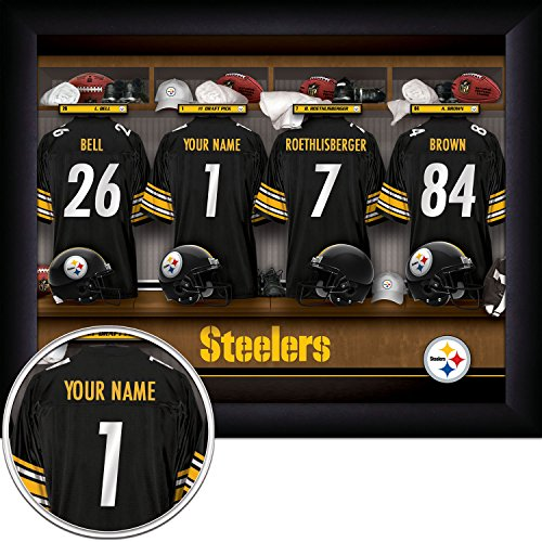 Nfl Personalized Picture (Pittsburgh Steelers Personalized NFL Football Locker Room Jersey Framed Art Print 13x16 Inches)