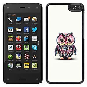 Amazon Fire Phone Único Patrón Plástico Duro Fundas Cover Cubre Hard Case Cover - Pink Owl Art Colorful Cartoon Character