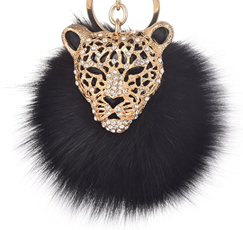 Leopard with Black Fox Fur Pom Pom Keychain for Women Giftale Ball Bag Charm