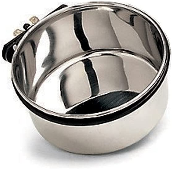 Ethical Pet Stainless Steel Coop Cup, Perfect Dog Bowls for Cages and crates 10-Ounce pet Food Bowl, Black, Small (6016)