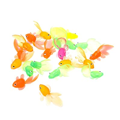 Yuanhaourty 20pcs Bath Shower Toy Rubber Simulation Small Goldfish Gold Fish Kids Toy Decoration Birthday Party Favors Gift : Baby