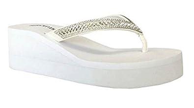 9e1e01c7185d Amazon.com  REDVOLUTION Black White Wedge Rhinestone Crystal Bridal Flip  Flops  Shoes