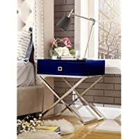 Inspired Home Gekko Modern Lacquer-Finish Side Table / Accent Table / Nightstand with 1 Drawer and X-Metal Legs, Navy w/Chrome Steel Base
