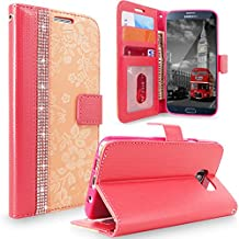 Galaxy Note 5 Case, Cellularvilla [Diamond Jewel] [Stand Feature] Embossed Flower Design Premium Pu Leather Wallet Case [Card Slots] Flip Folio Stand Cover For Samsung Galaxy Note 5 (Peach Pink Bling)