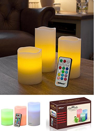 Top Race¨ LED Color Changing Real Wax Candles, Flameless Weatherproof Candle Lights with Remote & Timer - 3 Piece