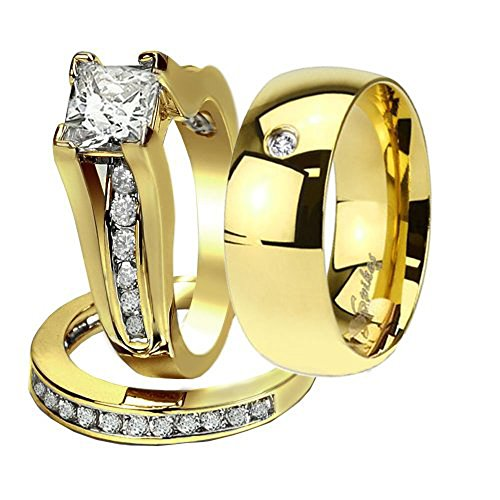 Hers & His 14K G.P. Stainless Steel 3pc Wedding Engagement Ring & Men's Band Set Women's Size 07 Men's Size 09