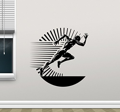 Running Wall Decal Runner Run Print Gym Fitness Workout Sport Poster Vinyl Sticker Kids Teen Boy Room Nursery Bedroom Wall Art Decor Mural 98nnn