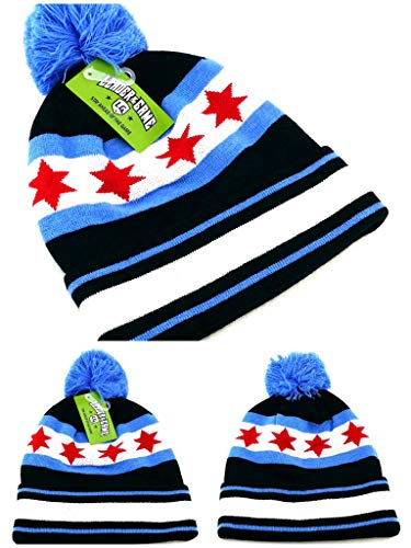 (Chicago Leader New Beanie Knit Toque Cuffed Pom City of Flag Bulls Alternate Black Blue Red Era Hat Cap)