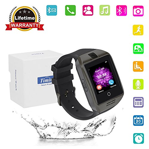 Smart Watch, Bluetooth Touch Screen Smartwatches Support SIM/TF Card Camera Pedometer Sleeping Monitor Facebook Whatsapp Sports Fitness Tracker For Android Phones Samsung Huawei Sony et (Gun black)