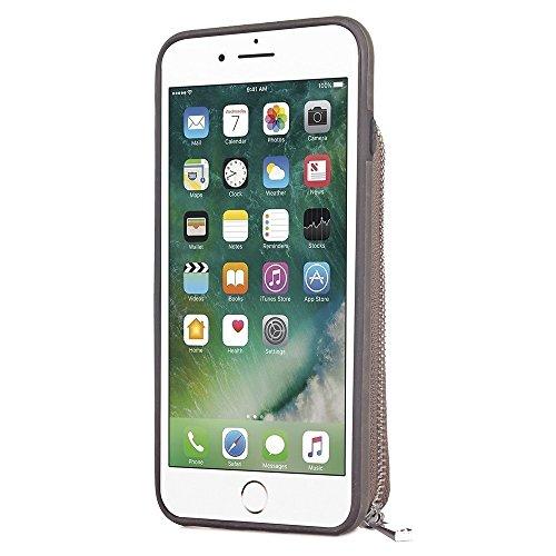 Hülle für iPhone 7 ,Schutzhülle Für IPhone 7 große Kapazitäts-Mappen-Beutel mit Reißverschluss Retro- ebene Beschaffenheit PU-lederner Abdeckungs-Fall ,cover für apple iPhone 7,case for iphone 7 ( Col