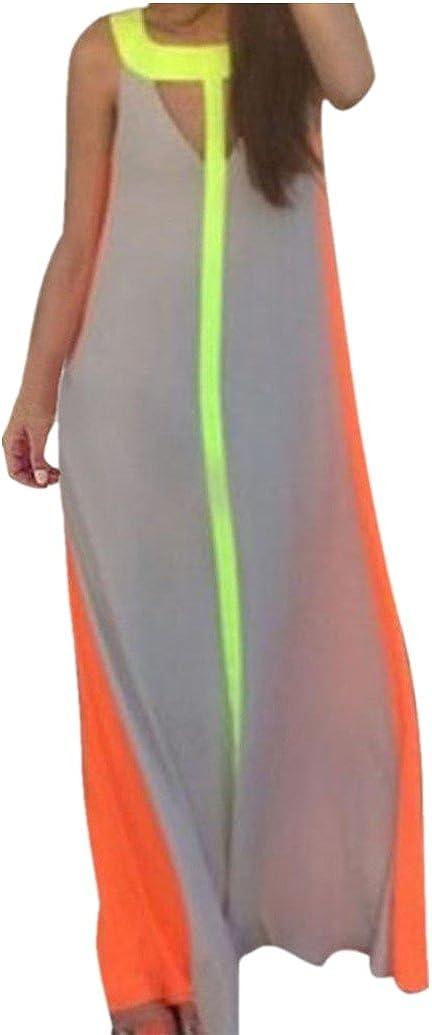 LONUPAZZ Robe De Plage Longue Femme Fashion Sexy été Robe De Couture Multicolore Chemise Chic sans Manches