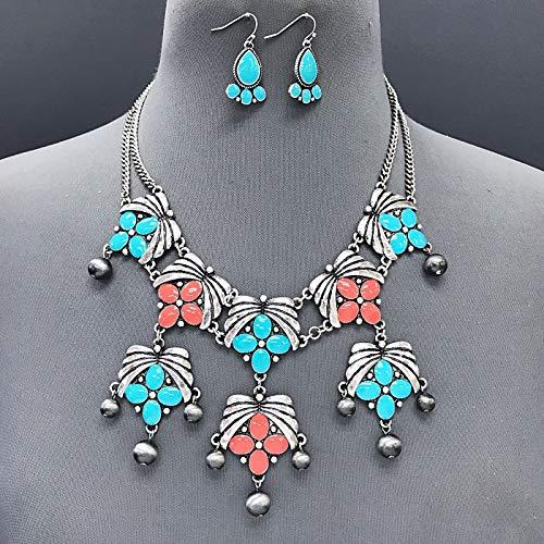 Petal Design Ring - Silver Finish Turquoise Coral Color Flower Petal Design Necklace Earrings Set