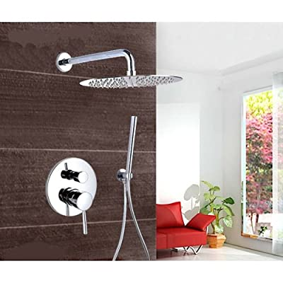 LightInTheBox Chrome Wall Mount Concealed Shower Set Concealed Shower Faucets 10 Inch Rainfall Round Shower Head Bath Tap Mixer