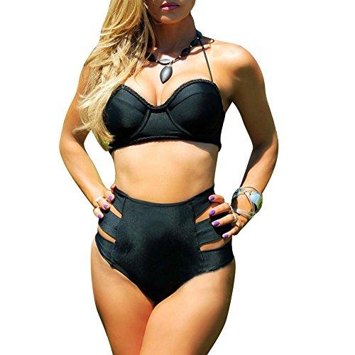 Pinkyee Women's Knit Bikini Plug Size Swimsuits Black Large