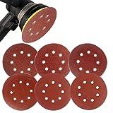 Coceca 60PCS 5 Inch Sanding Discs Sandpaper Assorted 60 80 120 180 240 320 Grits For Power Random Orbit Sanders