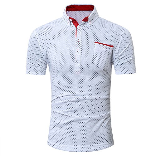 Golf Shirts for Men, Quick-Dry Stretch Golf Polo Shirt for Men White (Polo Golf Cricket Shirt)