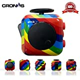Premium Fidget Cube - Anxiety Fidgeting Stress Relief - Ultimate Sensory Desk Toy for Kids and Adults - 6 Various Addicting Features - Bonus Exclusive CronosGear Focus System eBook (Rainbow)