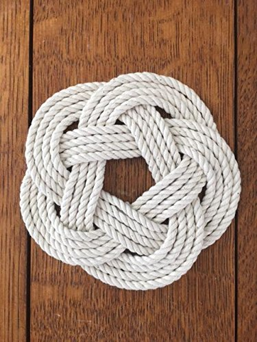 White-Nautical-Sailor-Knot-Turks-Head-Coasters-Set-of-4