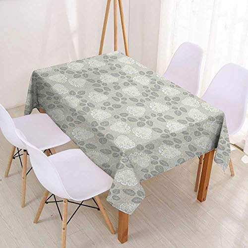 Wendell Joshua Custom Tablecloth Antique,Old Fashioned Roses Pattern with Blossoms and Leaves Romantic Spring Revival,Grey Beige White,Restaurant Kitchen Rectangular Tablecloth 60