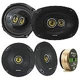 2 Pair Car Speaker Package Of 2x Kicker CSC654 600-Watt 6.5' Inch 2-Way Black Coaxial Speakers + 2x CSC6934 900W 6x9' CS Series 3-Way Speakers - Bundle Combo With Enrock 50 Foot 14 Gauge Speaker Wire