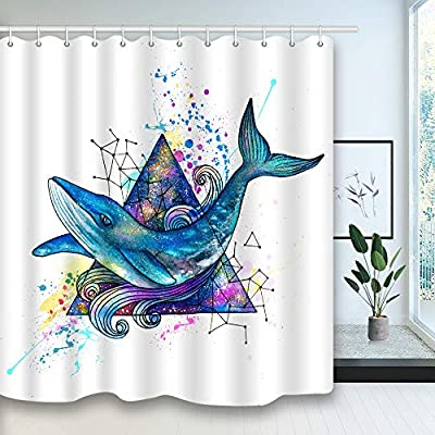 NYMB Shower Curtain, Mildew Resistant Fabric Bathroom Decorations, Bath Curtains Hooks Included, 69X70 inches