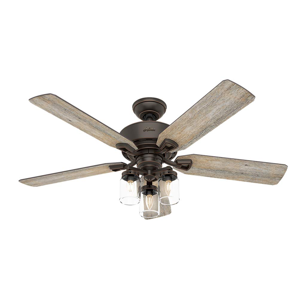 Hunter Fan Company 54201 Hunter 52' Devon Park Onyx Bengal LED Light and Handheld Remote Ceiling Fan