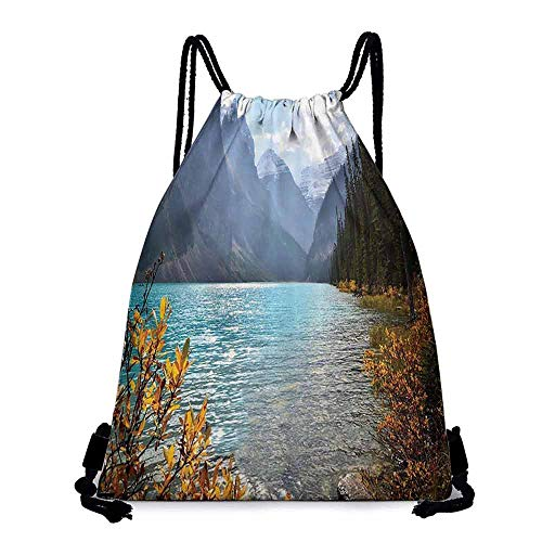 Gym backpack Cottage Decor Collection Lake Louise Banff National Park Canada with Sharp Mountains Autumn Plants and Tree View Lightweight W14